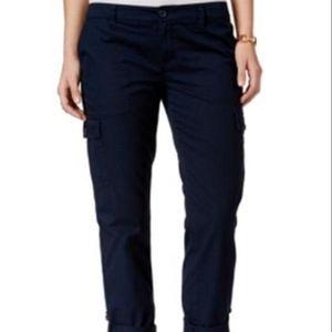 Tommy Hilfiger Womens Roll-Cuff Crop Capri Pants
